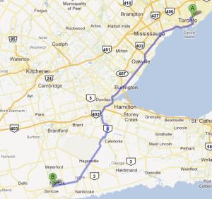 Toronto to Simcoe